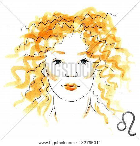 Beautiful image with nice watercolor horoscope girl Leo