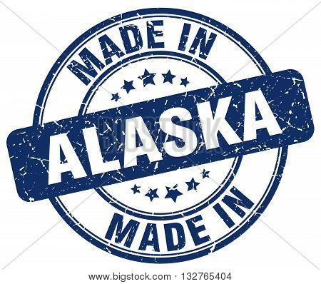 made in Alaska blue round vintage stamp.
