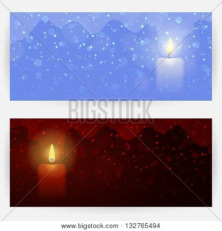 Two winter festive greeting cards in dark-red and blue colors with candle, lights, sparks and snowflakes. Horizontally elongated rectangular backgrounds