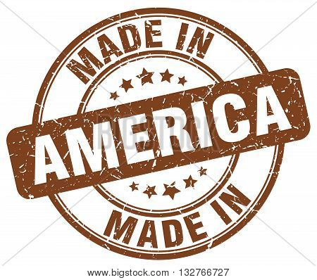 made in America brown round vintage stamp.