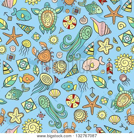 beach and sea doodles vector seanless background