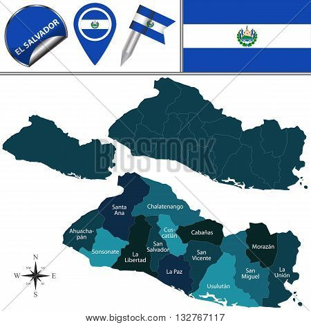 Map Of El Salvador With Named Departments