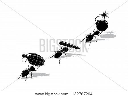 army. A black silhouette of ants with the grenade, with a shell and a bomb on a white background