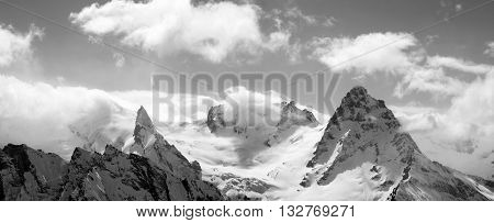 Black And White Panorama Mountains In Cloud
