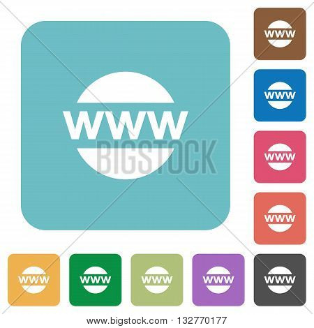 Flat web domain icons on rounded square color backgrounds.