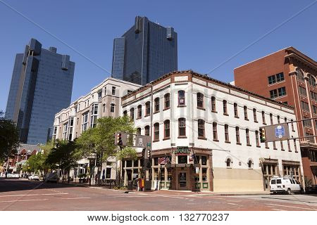 FORT WORTH USA - APR 6: Crossroads in the Fort Worth Downtown. April 6 2016 in Fort Worth Texas USA