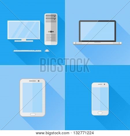 Set of electronic devices flat icons. Desktop computer, laptop, tablet pc and smartphone. Vector illustration.