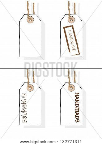 Seller's carton tags. Price labels. Handmade. Vector isolated illustration of handmade price tags .