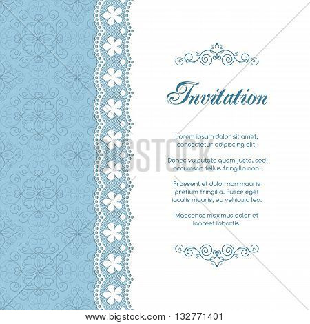 Vintage invitation template with lacy doily on seamless background. Retro style vector illustration