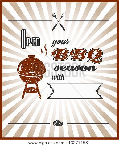 Vector. Open your BBQ season with ...-your text-. Summer BBQ. BBQ season. BBQ poster. Summer getaway. Picnic outdoor. Family BBQ day. BBQ related goods adv. Grill meat. Illustration. Barbecue retro