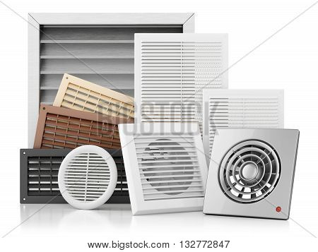 Set Of Ventilation Grilles Isolated On White Background 3D