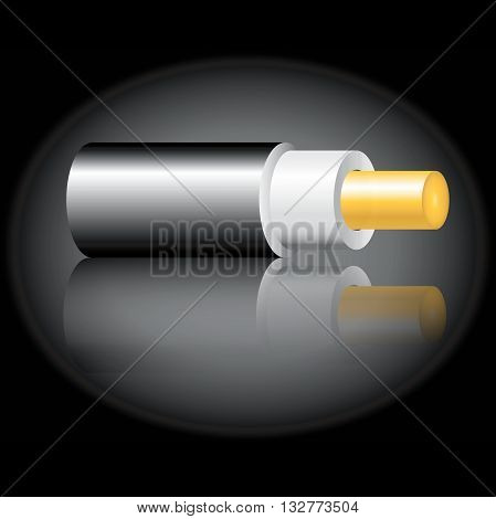 Optic fiber cable on black background. Vector illustration