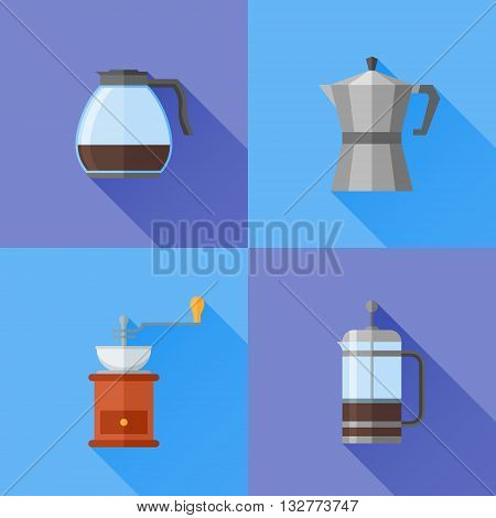 Set of coffee makers flat style icons. French press, coffee pot and grinder. Vector illustration.