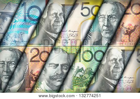 Australian Dollar bills creating a colorful background