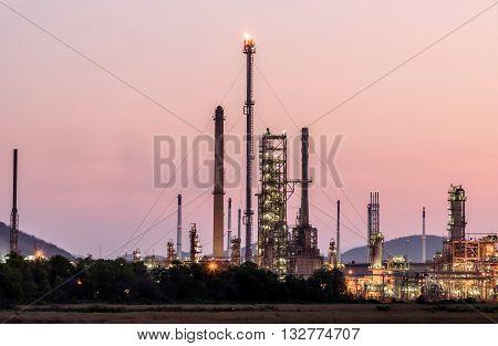 Oil Refinery In Morning Day Sunrise
