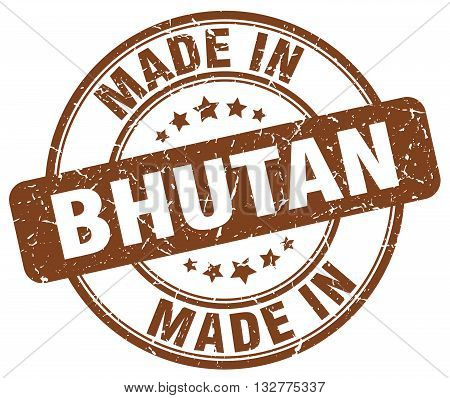 made in Bhutan brown round vintage stamp.Bhutan stamp.Bhutan seal.Bhutan tag.Bhutan.Bhutan sign.Bhutan.Bhutan label.stamp.made.in.made in.