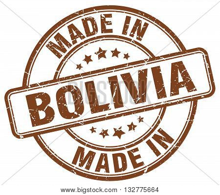 made in Bolivia brown round vintage stamp.Bolivia stamp.Bolivia seal.Bolivia tag.Bolivia.Bolivia sign.Bolivia.Bolivia label.stamp.made.in.made in.