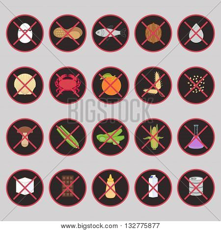 Vector set of warning labels for food allergens - gluten lactose etc - and GMO