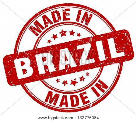 made in Brazil red round vintage stamp.Brazil stamp.Brazil seal.Brazil tag.Brazil.Brazil sign.