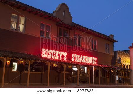 FORT WORTH TX USA - APR 6: Riscky's Steakhouse in the Fort Worth Stockyards historical district. April 6 2016 in Fort Worth Texas USA