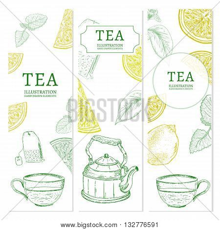 Tea banners hand drawn elements vintage tempate sketch vector illustration