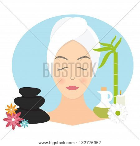 Flat Design Of A Woman With Towel In Spa. Vector Illustration