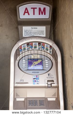 FORT WORTH USA - APR 6: Mini Bank ATM accepting all popular credit cards in the Fort Worth Stockyards District. April 6 2016 in Fort Worth Texas USA