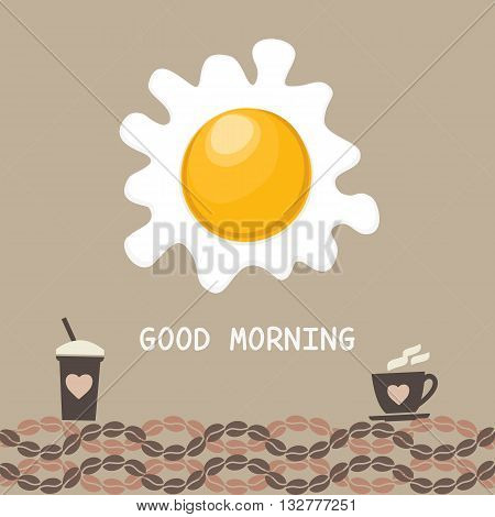 Coffee time concept. Good morning Concept. Coffee Cup Mug with espresso or cappuccino. Fried eggs hot morning drinks beverages. Beans isolated. Background vintage decoration. Vector illustration