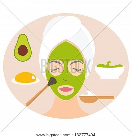 Flat design woman in natural mask of yogurt egg yolk and avocado. Vector illustration