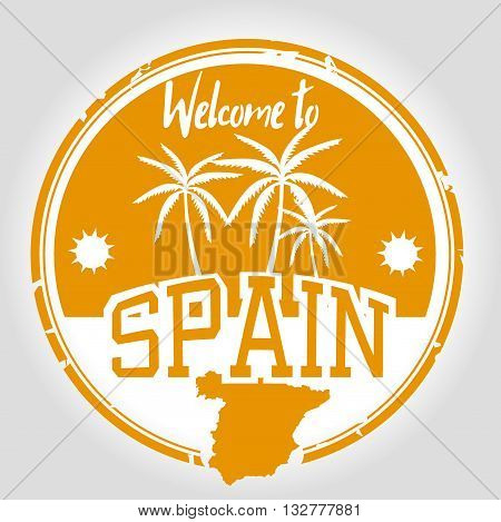 Stamp welcome to Spain, south of Europe