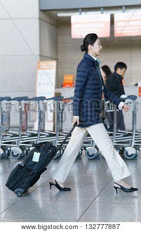 Asian Korean Air Flight Stewardess At Incheon International Airport