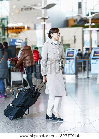 Asian Korean Air Flight Stewardess At The Incheon International Airport
