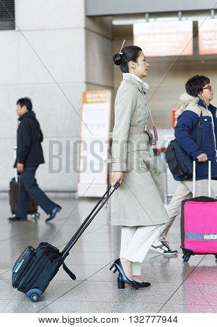 Asian Korean Air Flight Stewardess In International Airport Of Incheon