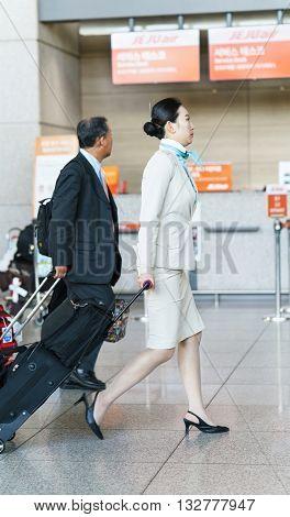 Asian Korean Air Flight Stewardess In The Incheon International Airport