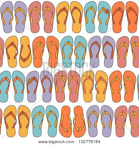 Seamless pattern with multicolored flip-flops for summertime design