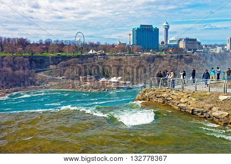 Niagara River And Cityscape Of Ontario Near Niagara Falls
