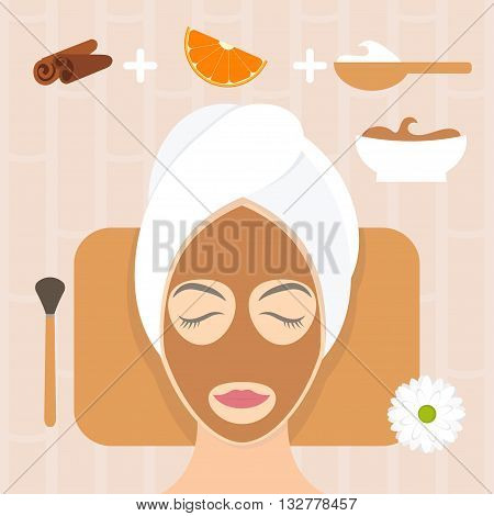 Flat Design Woman In Natural Mask Of Yogurt, Orange And Cinnamon. Vector Illustration