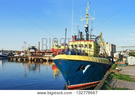 Ship On The Marina In Ventspils In Latvia