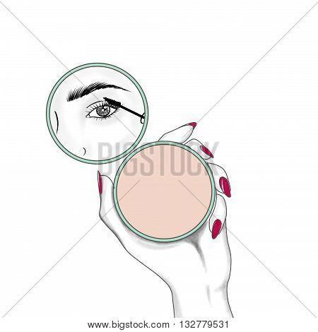 fashion and beauty hand drawn raster illustration - woman applying mascara