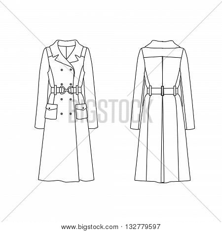 Flat fashion technical  template - Trench coat