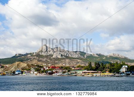 Europe Russia. Koktebel-urban village in the east of the Crimea located on the shores of the Koktebel Bay in Black Sea . The famous holiday destination.