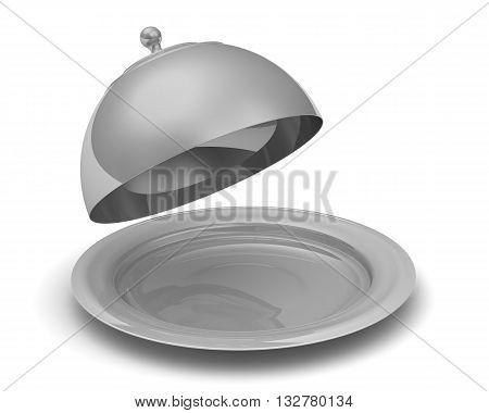 Serving tray with lid. Open serving tray with a lid on a white surface. Isolated. 3D Illustration