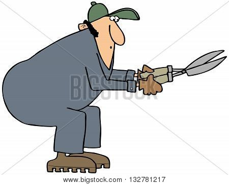 Illustration of a man wearing coveralls using a pair of hedge shears.