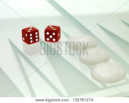 Close Up Image Of Dice And Chinese Chess Piece