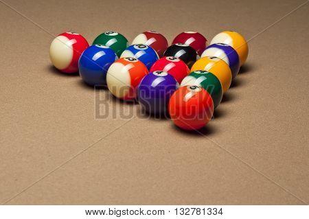 Close Up Shot Of Arranged Pool Balls