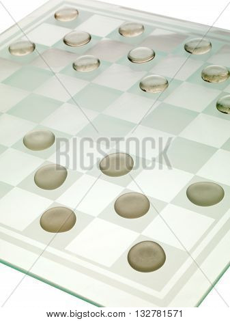 Cropped Image Of A Chess Board With Chess Piece Arranged In A Row