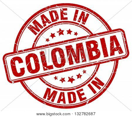 made in Colombia red round vintage stamp.Colombia stamp.Colombia seal.Colombia tag.Colombia.Colombia sign.Colombia.Colombia label.stamp.made.in.made in.