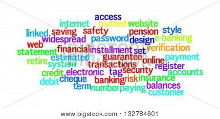 Word of banking language and mode. Saving and business concept