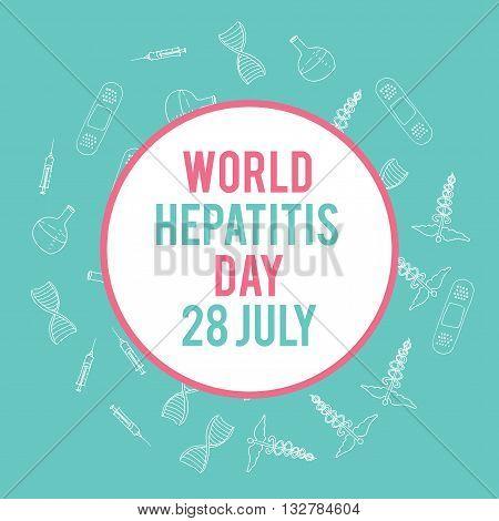 World hepatitis day. Hand drawn medical illustration. Pharmacy vector background. Doodle medicine design. Health theme banner.