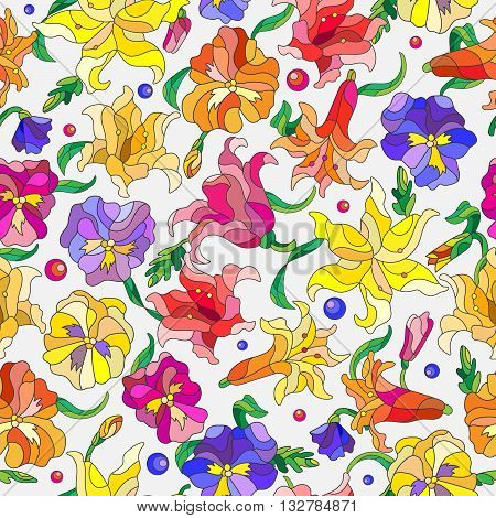 Seamless background with spring flowers in stained glass style flowers buds and leaves of pansies and lilies on a light background